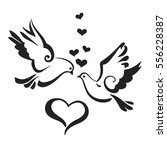 silhouettes of doves with... | Shutterstock .eps vector #556228387