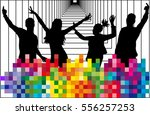 dancing people silhouettes.... | Shutterstock .eps vector #556257253