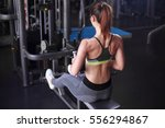 young girl doing exercise on... | Shutterstock . vector #556294867