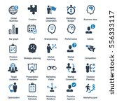 marketing strategy icons   blue ... | Shutterstock .eps vector #556333117