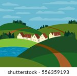 green landscape. freehand drawn ... | Shutterstock . vector #556359193