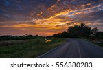 roads  rural canal to reflect... | Shutterstock . vector #556380283