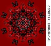 Kaleidoscope Pattern Of Red An...