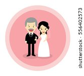 isolated bride with father on... | Shutterstock .eps vector #556402573