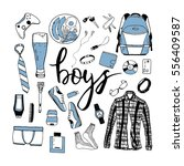 vector set of boy's items with... | Shutterstock .eps vector #556409587
