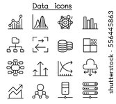 Stock vector database data graph icon set in thin line style 556445863