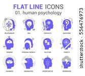 flat line design set of human... | Shutterstock .eps vector #556476973