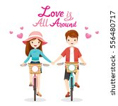 man and woman riding bicycle ... | Shutterstock .eps vector #556480717