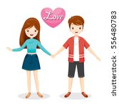 man and woman clasping hands ... | Shutterstock .eps vector #556480783