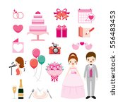 wedding icons set  love ... | Shutterstock .eps vector #556483453