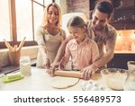 cute little girl and her... | Shutterstock . vector #556489573