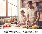 cute little girl and her... | Shutterstock . vector #556495057