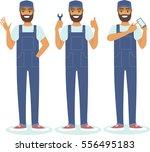 young confident handyman... | Shutterstock .eps vector #556495183