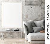framed poster in hipster living ... | Shutterstock . vector #556503427