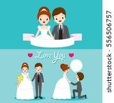 bride and groom with various... | Shutterstock .eps vector #556506757