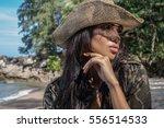 portrait of beautiful brunette... | Shutterstock . vector #556514533
