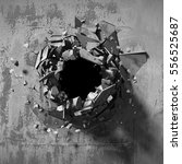 Dark Explosion Hole Of Concret...