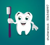 tooth mascot smiling with tooth ... | Shutterstock .eps vector #556548997