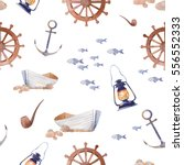 watercolor nautical seamless... | Shutterstock . vector #556552333