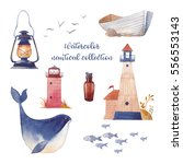 Watercolor Nautical Set. Hand...