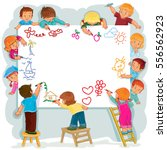 happy children together draw on ... | Shutterstock .eps vector #556562923