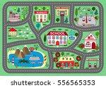 lovely city landscape car track.... | Shutterstock .eps vector #556565353