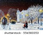 vintage  old city  oil... | Shutterstock . vector #556583353