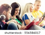 group of hipster student on a... | Shutterstock . vector #556586017