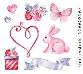 watercolor illustration  cute... | Shutterstock . vector #556603567