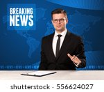 television presenter in front... | Shutterstock . vector #556624027