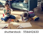 family spend time happiness... | Shutterstock . vector #556642633