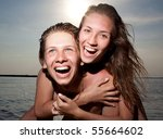 young couple having fun on the... | Shutterstock . vector #55664602