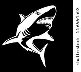 shark emblem isolated on black... | Shutterstock .eps vector #556664503