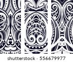 Set of Maori style ornaments. Ethnic themes can be used as body tattoo or ethnic backdrop. | Shutterstock vector #556679977