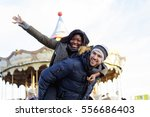 young couple enjoy a day in the ... | Shutterstock . vector #556686403