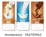 set of three labels of milk ... | Shutterstock .eps vector #556705963
