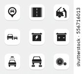 set of 9 editable car icons.... | Shutterstock .eps vector #556716013