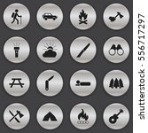 set of 16 editable travel icons.... | Shutterstock .eps vector #556717297