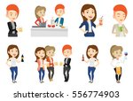 women toasting and clinking... | Shutterstock .eps vector #556774903