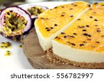 passionfruit cheesecake  side... | Shutterstock . vector #556782997