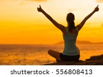 healthy woman celebrating... | Shutterstock . vector #556808413