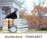 college campus and book for... | Shutterstock . vector #556816837