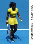 Small photo of MELBOURNE, AUSTRALIA - JANUARY 26, 2016: Twenty one times Grand Slam champion Serena Williams in action during her quarter final match at Australian Open 2016 at Australian tennis center in Melbourne