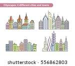 linear vector cityscape... | Shutterstock .eps vector #556862803