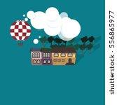 flat vector building  balloon... | Shutterstock .eps vector #556865977