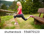 lunge step on a bench   young... | Shutterstock . vector #556870123