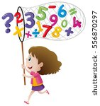 girl catching numbers with net... | Shutterstock .eps vector #556870297
