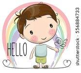 cute cartoon boy with a rainbow ...   Shutterstock . vector #556884733