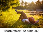 trendy hipster girl relaxing on ... | Shutterstock . vector #556885207