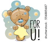 cute cartoon teddy bear with... | Shutterstock . vector #556885687